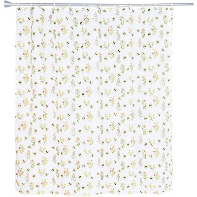 "Bumblebees Bee Flower Bath Shower Curtain Set Polyester with 12 Hooks for Floral Bathroom Decor 70""x71"""
