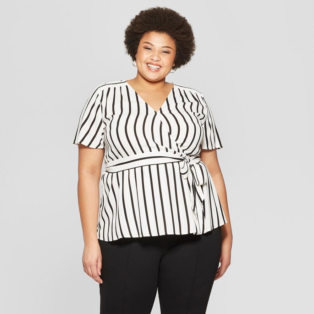 Women's Plus Size Striped Short Sleeve Smocked Shoulder Wrap Top - Ava & Viv Black/White 1X