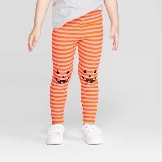 Toddler Girls' Striped Jack-o-Lantern Leggings  - Cat & Jack™ Orange/Pink