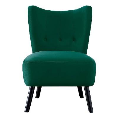 Homelegance Imani Mid Century Modern Velvet Accent Upholstered Living Room Bedroom Lounge Chair, Green