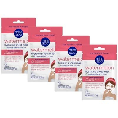 Miss Spa Watermelon 100% Cotton Biodegradable Sheet Mask - 4pk/0.56 fl oz