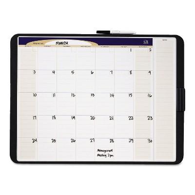 Quartet Tack & Write Monthly Calendar Board 23 x 17 White Surface Black Frame CT2317