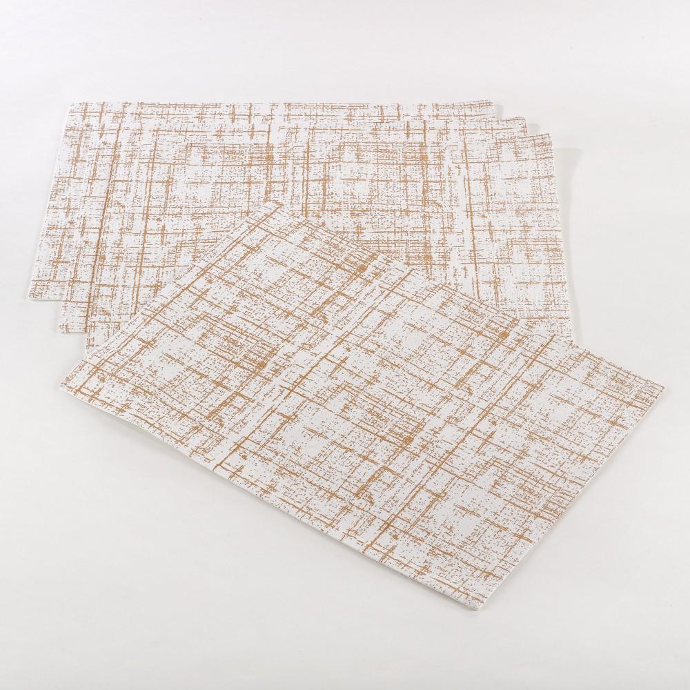 Set of 4 Crosshatch Design Placemat Natural - Saro Lifestyle
