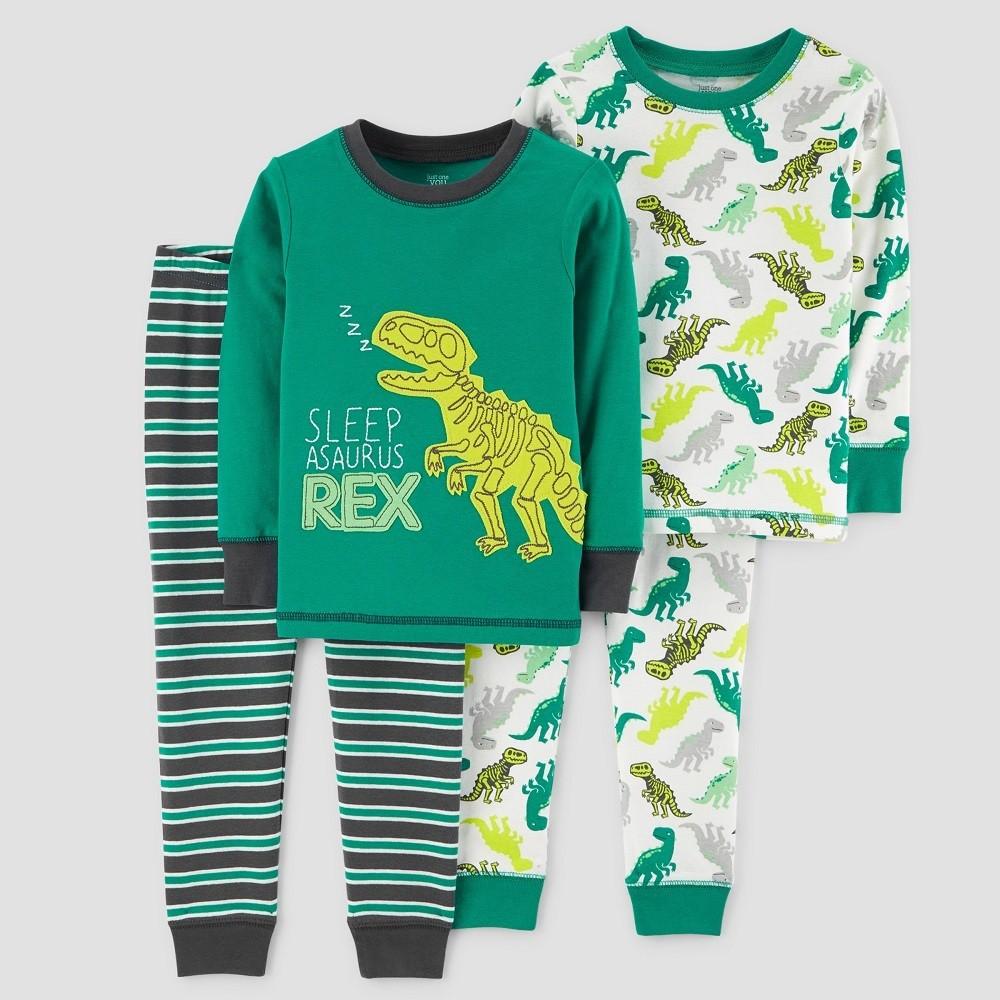 Baby Boys' 4pc Sleep-Asaurus Rex Long Sleeve Pajama Set - Just One You made by carter's Green 18M