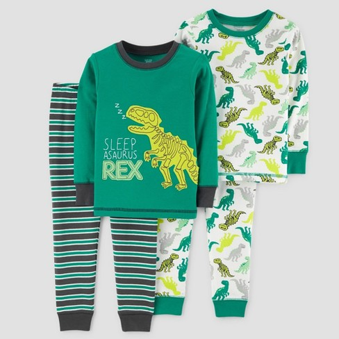 acc56e211ca8 Baby Boys  4pc Sleep-Asaurus Rex Long Sleeve Cotton Pajama Set ...
