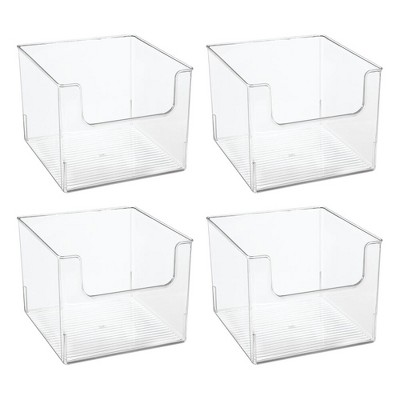 mDesign Plastic Bathroom Storage Organizer Basket Bin, 4 Pack - Clear