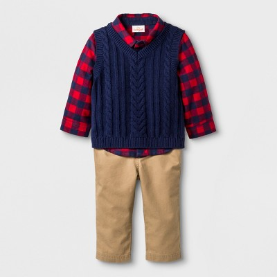 Baby Boys' 3pc Collared Button-Down Flannel Bodysuit, Sweater Vest and Twill Pants - Cat & Jack™ Blue 3-6M