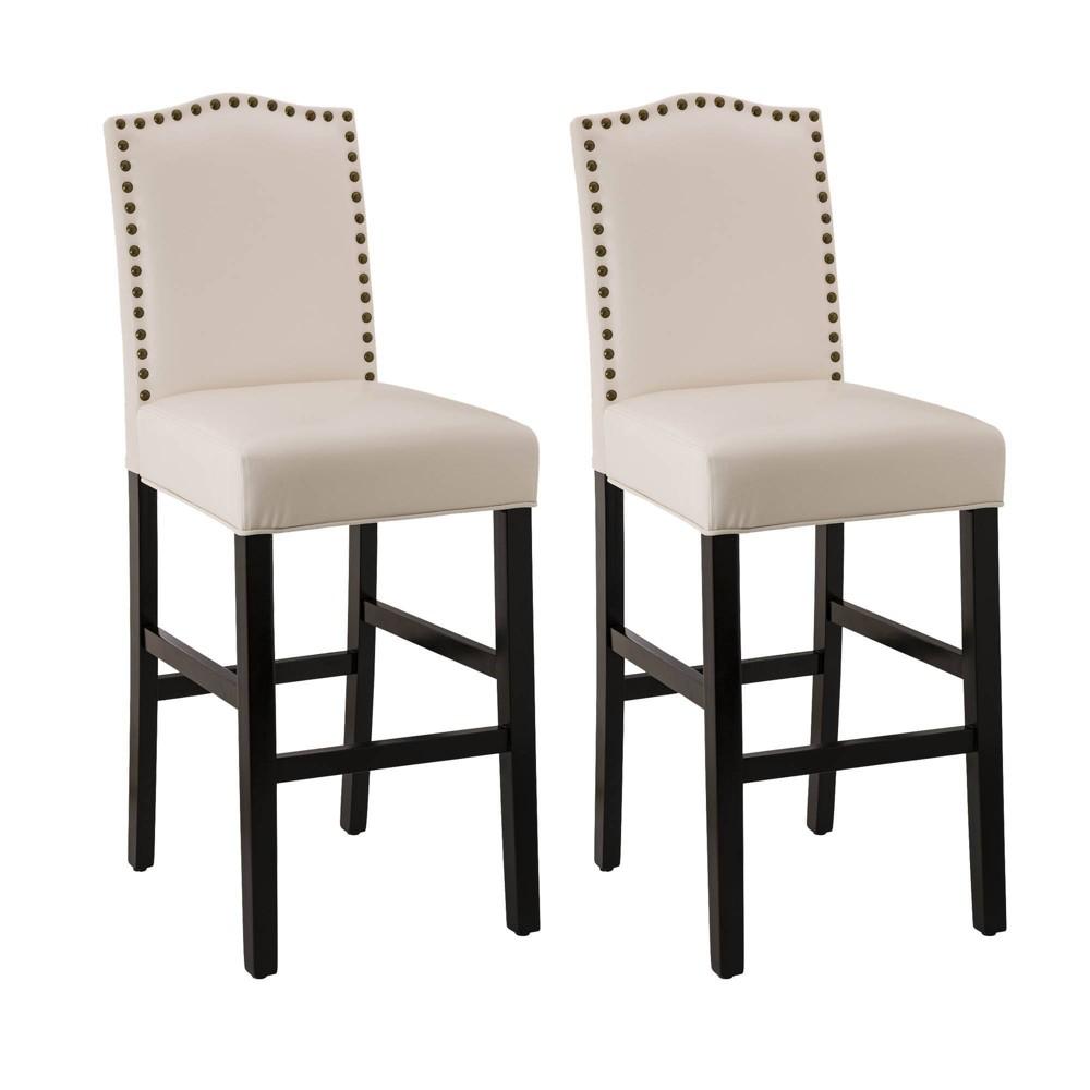 Set Of 2 Leatherette Barstools With Studded Decoration Beige Glitzhome