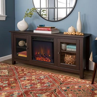 58  Wood Media TV Stand Console with Fireplace - Espresso - Saracina Home