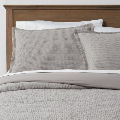 Full/Queen Washed Waffle Weave Comforter & Sham Set Gray - Threshold™