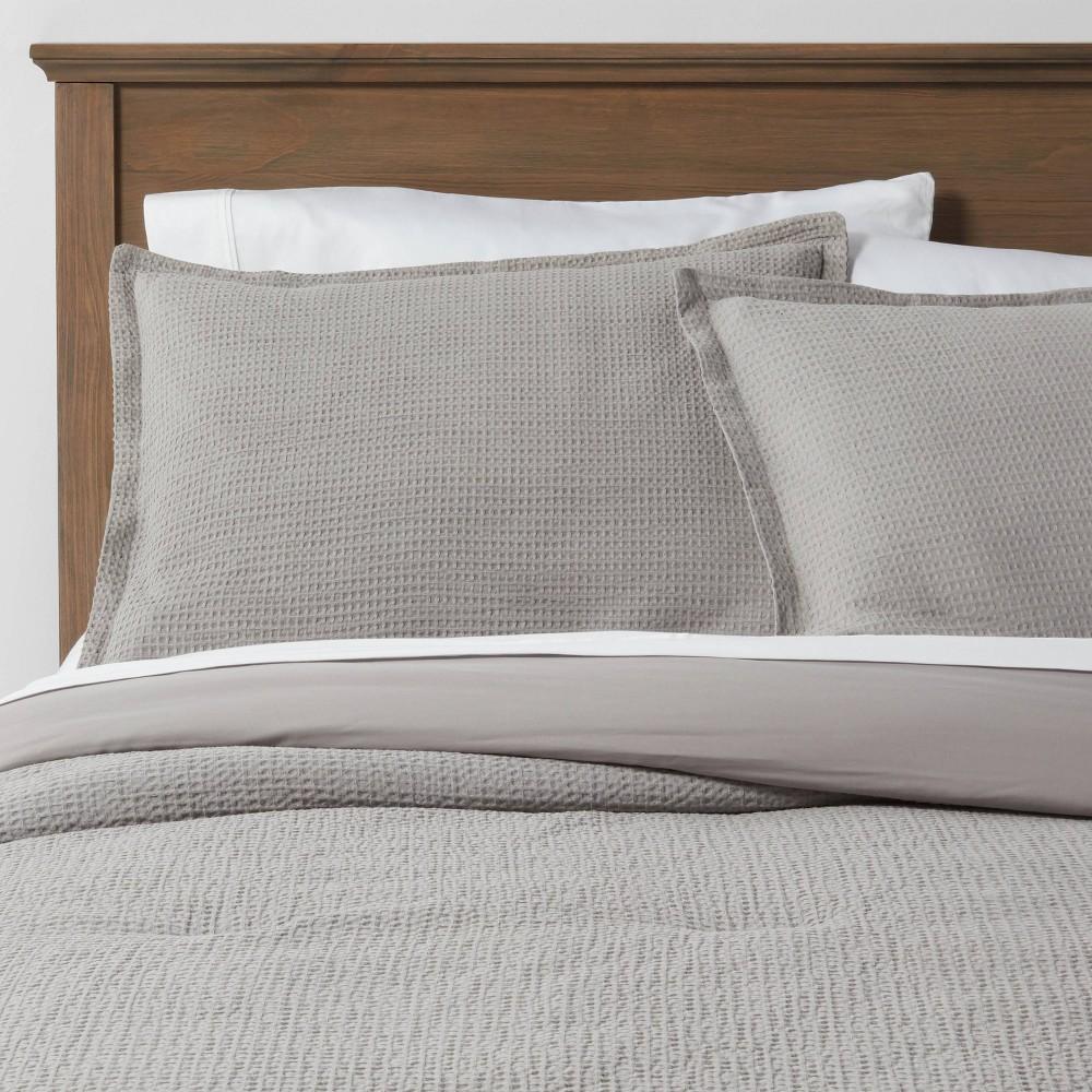 King Washed Waffle Weave Comforter 38 Sham Set Gray Threshold 8482