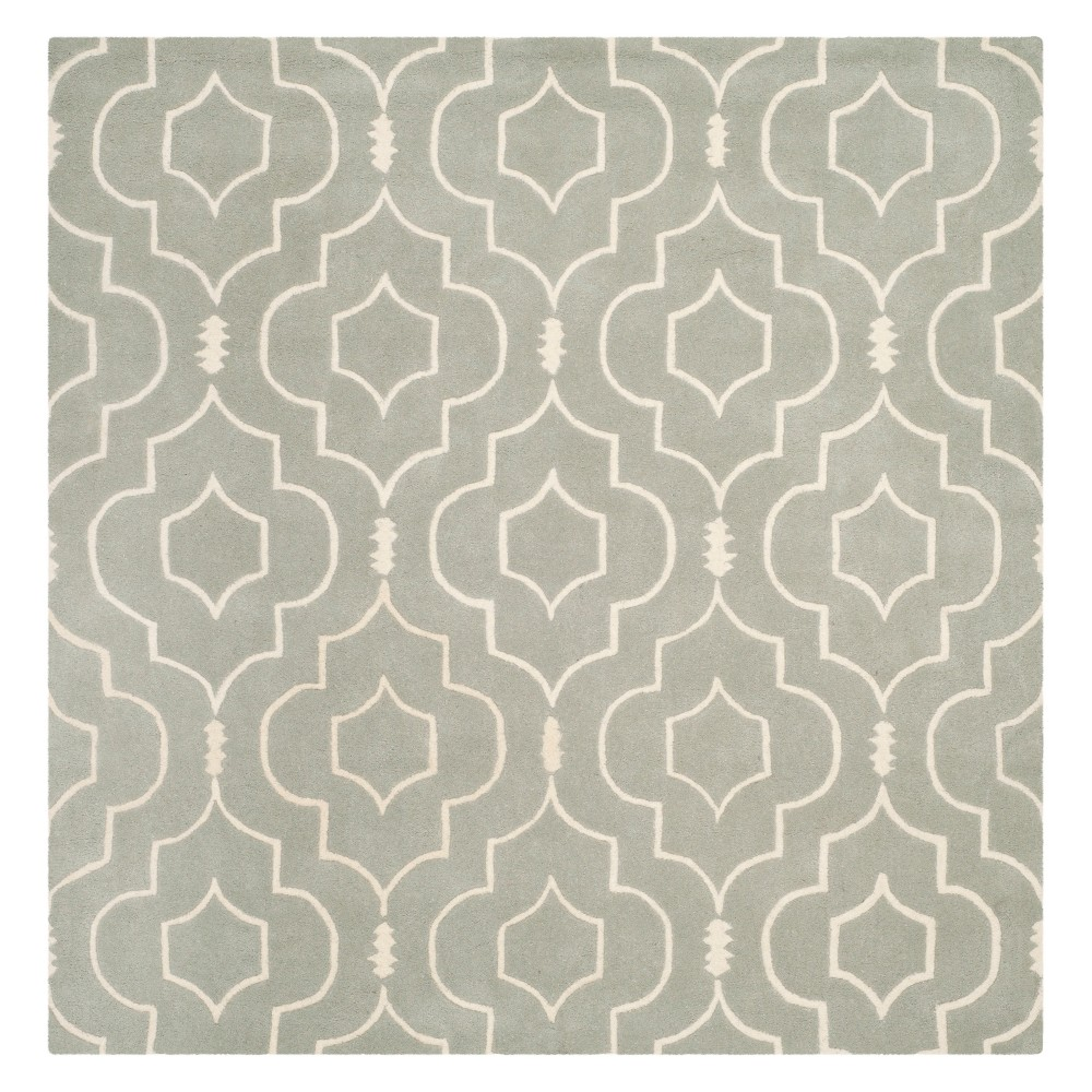 7'X7' Geometric Tufted Square Area Rug Gray/Ivory - Safavieh