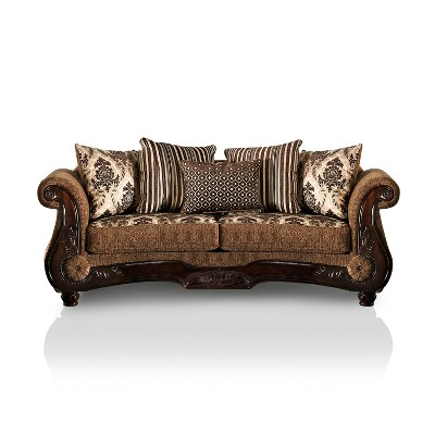 St. Lucia Rolled Arms Sofa Brown/Dark Walnut - HOMES: Inside + Out