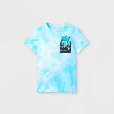 Toddler Boys' Monster Pocket Tie-Dye Graphic Short Sleeve T-Shirt - Cat & Jack™ Blue