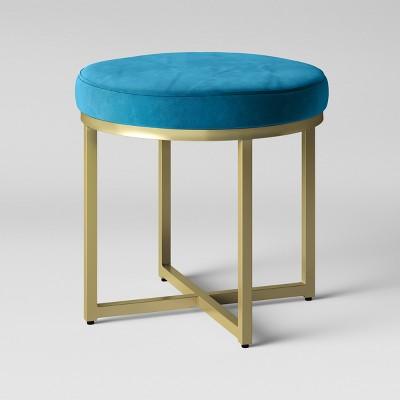 Malvern Round Ottoman - Dark Blue Velvet with Brass Legs - Project 62™