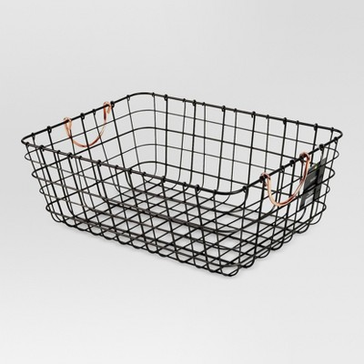Antique Pewter Decorative Wire Basket - Black - Threshold™