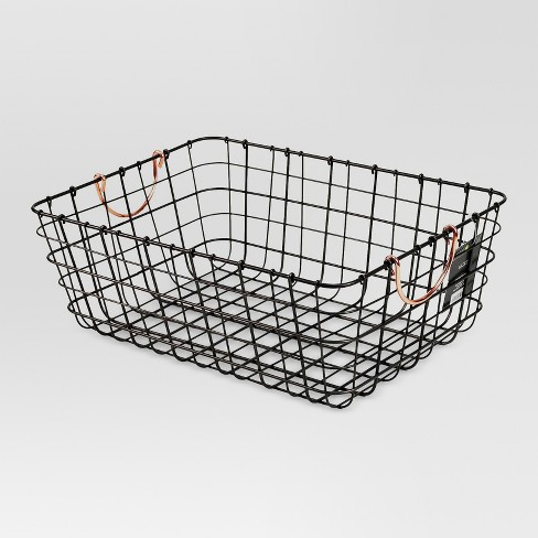 Antique Pewter Decorative Wire Basket - Black - Threshold™ - image 1 of 2
