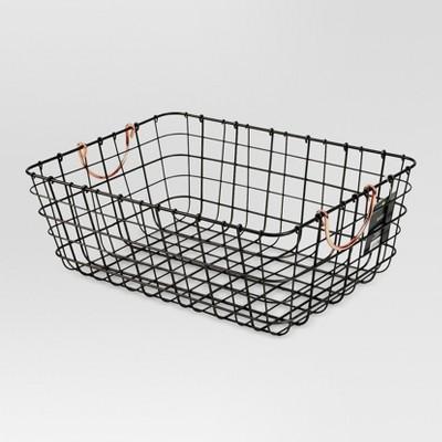 Incroyable Antique Pewter Decorative Wire Basket   Black   Threshold™