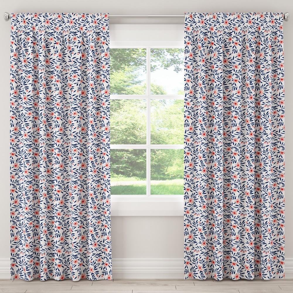Blackout Curtain Fiona Floral Porcelain Blush 84L - Cloth & Co., Blue