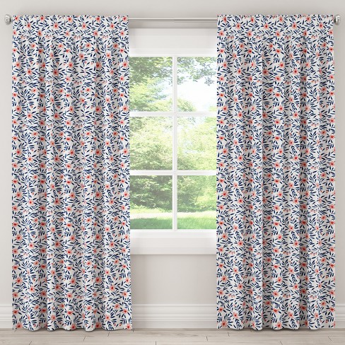 Unlined Curtain Fiona Floral Porcelain Blush - Skyline Furniture - image 1 of 5