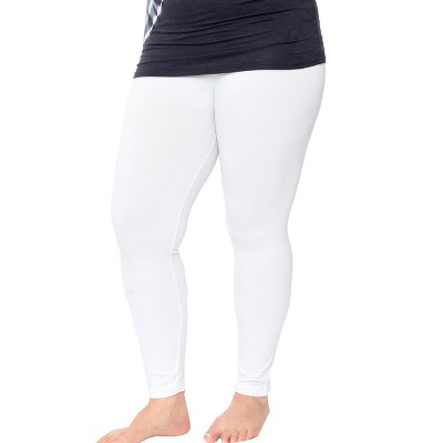 Women's One Size Fits Most Plus Size Super-Stretch Solid Leggings - One Size Fits Most Plus - White Mark
