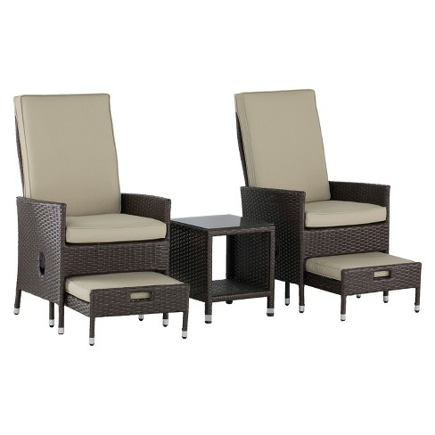 Laguna 5pc All-Weather Wicker Patio Seating Set - Brown - Serta - image 1 of 5
