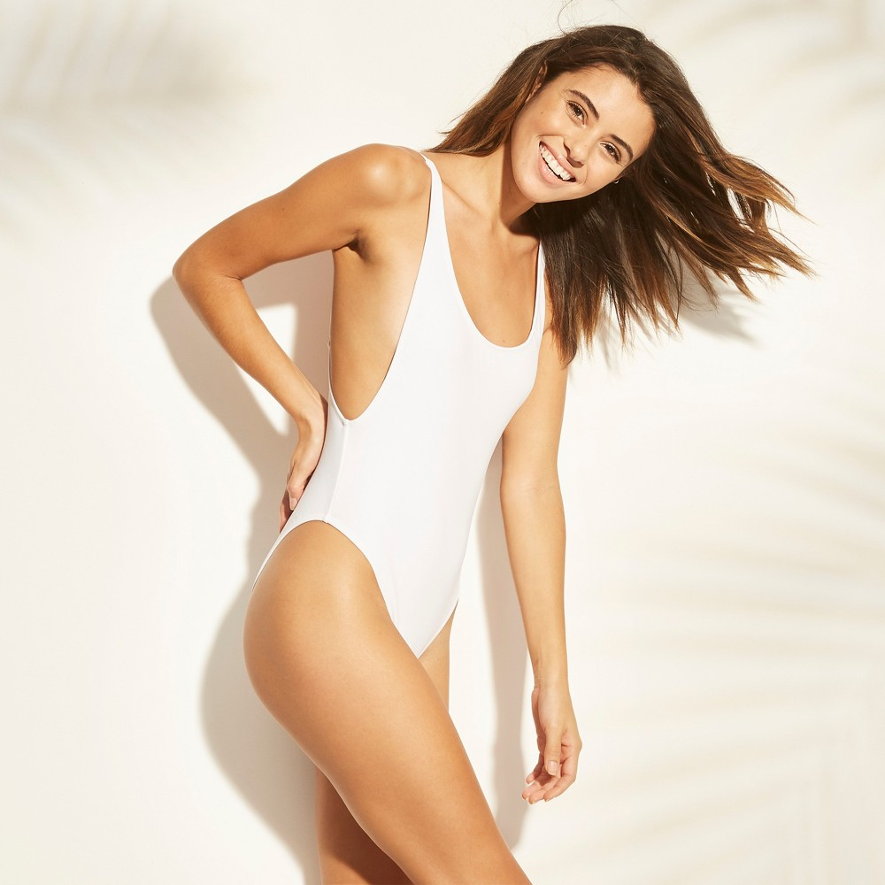Women's Scoop Back One Piece Swimsuit - Xhilaration White M
