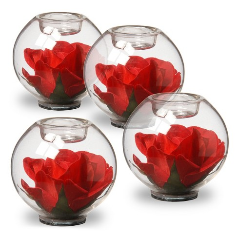 Rose Filled Glass Candleholder Red 4pk - National Tree Company® - image 1 of 4