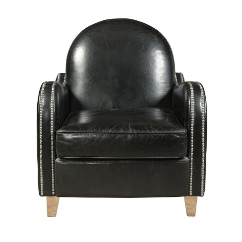 Essex Leather Accent Chair - Black - Pulaski - image 1 of 1