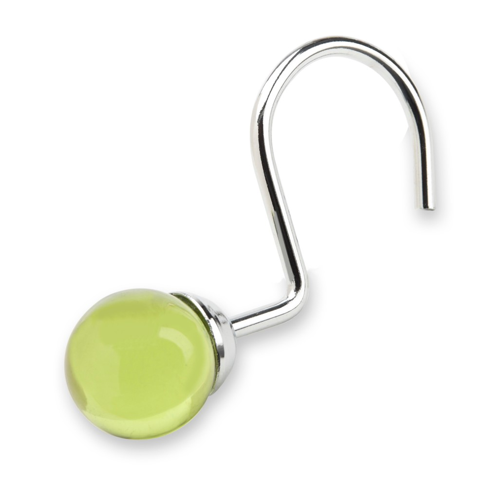Image of Acrylic Globe Shower Curtain Hooks Olive Drab Set of 12 - Elegant Home Fashions