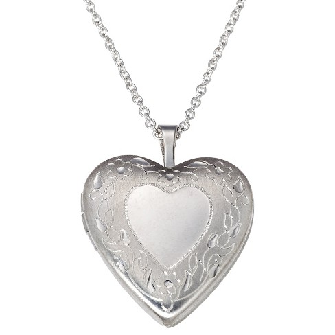Silver Plated Pendant Necklace with Engraved Heart Locket - image 1 of 3