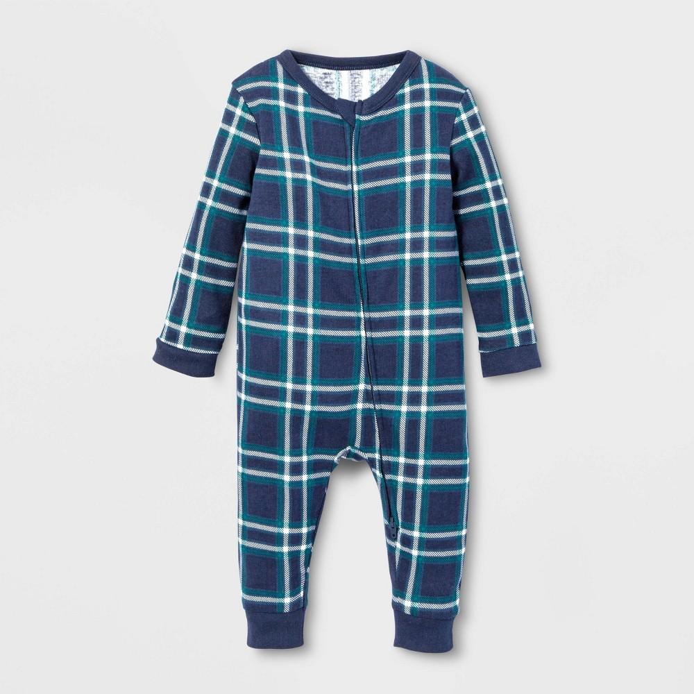 Image of Baby Family Pajama Blue Plaid Union Suit - Blue 3-6M, Adult Unisex