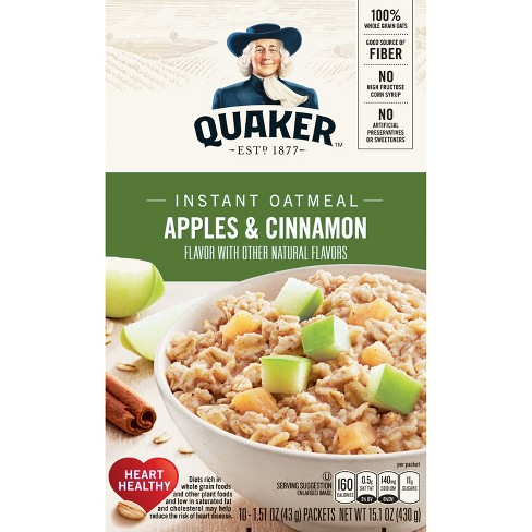 Quaker Instant Oatmeal Apple Cinnamon - 10ct - image 1 of 4