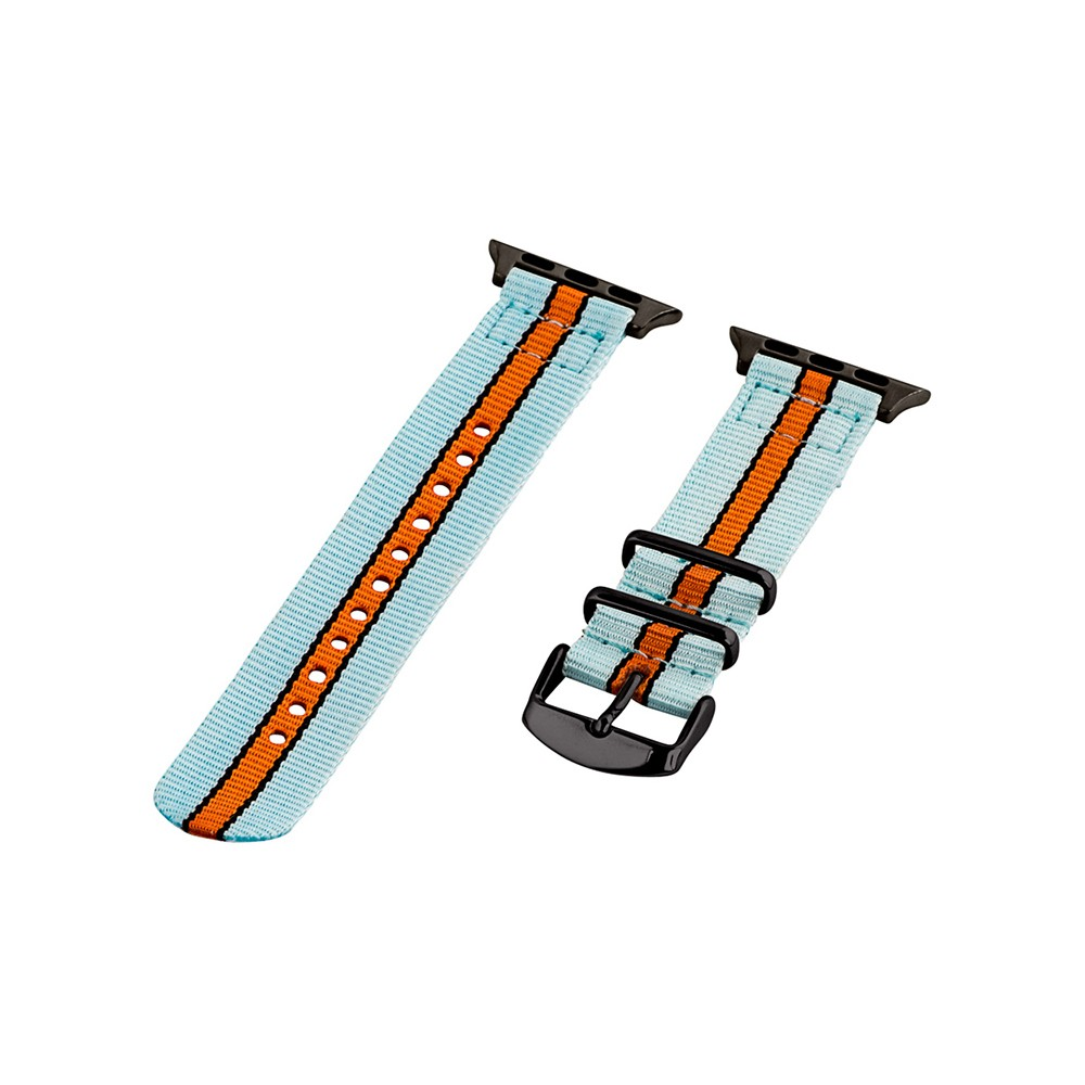 Clockwork Synergy Classic Nato 2 Apple Watch Band 42mm with Black Adapter - Blue/Red/White, Adult Unisex, Multicolored Customize the look of your watch with the Classic Nato 2-Piece Nylon Stripe Apple Watch Band from Clockwork Synergy. With a teal background and orange stripe, this watch band is sure to stand out when you pair it with your casual everyday outfits. The durable nylon and adjustable strap mean that you can customize your fit to stay comfortable all day long. Color: Multicolored. Gender: Unisex. Age Group: Adult.