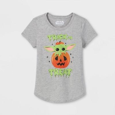 Girls' Star Wars Baby Yoda Short Sleeve Graphic T-Shirt - Heather Gray