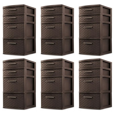 Sterilite 26226P02 4 Drawer Organizer Storage Tower with Medium Weave Drawer Fronts and Easy-Pull Handles, Espresso Brown (6 Pack)