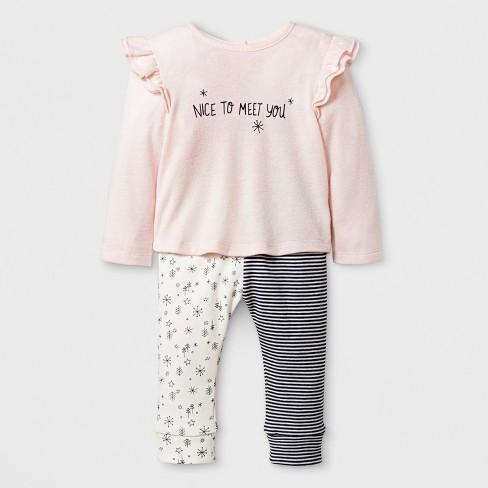 c1602b0e3 Baby Girls' Long Sleeve Ruffle Shoulder T-Shirt and Velour Critter Leggings  - Cat & Jack™ Pink