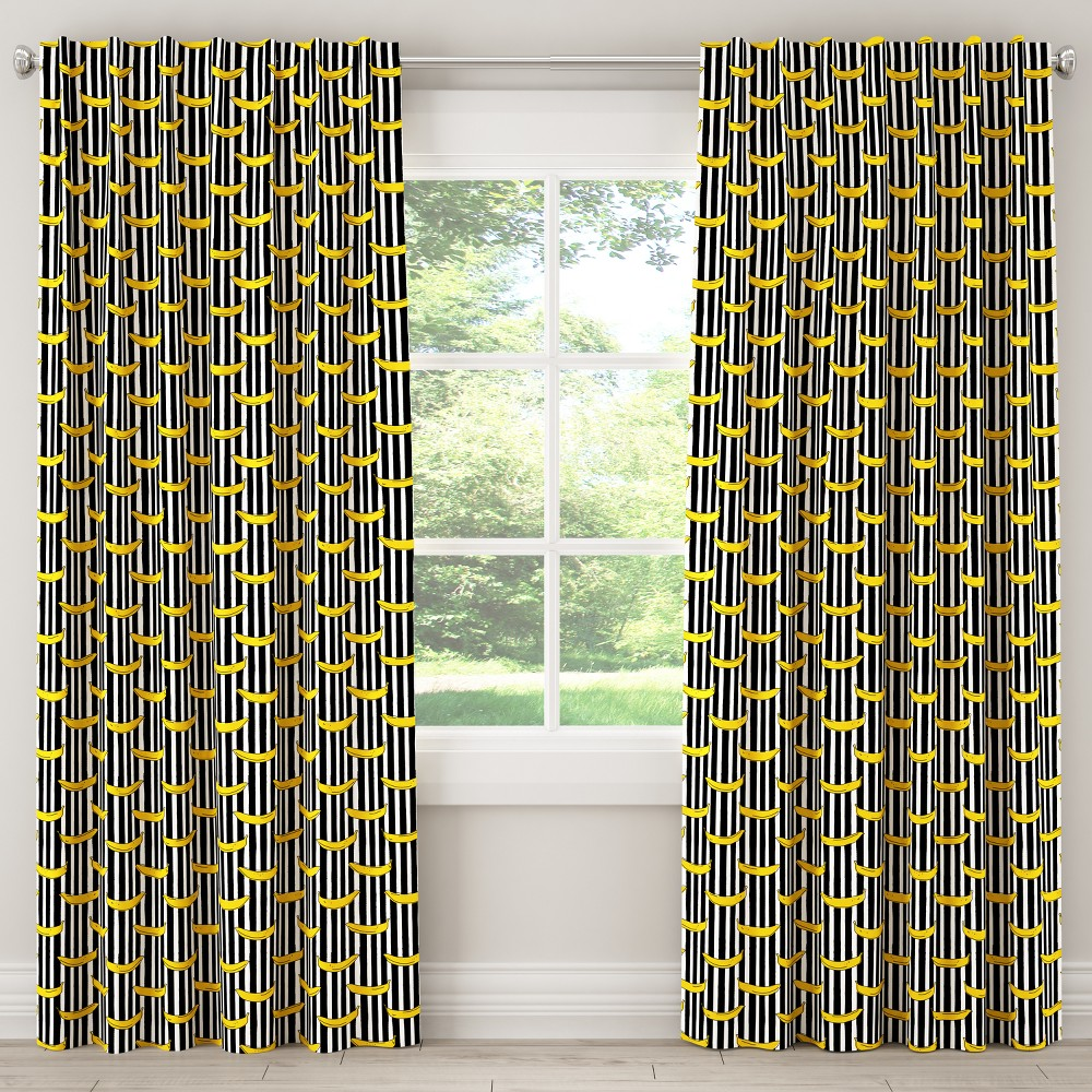 Image of Blackout Curtain Banana Stripe Black 108L - Cloth & Co.