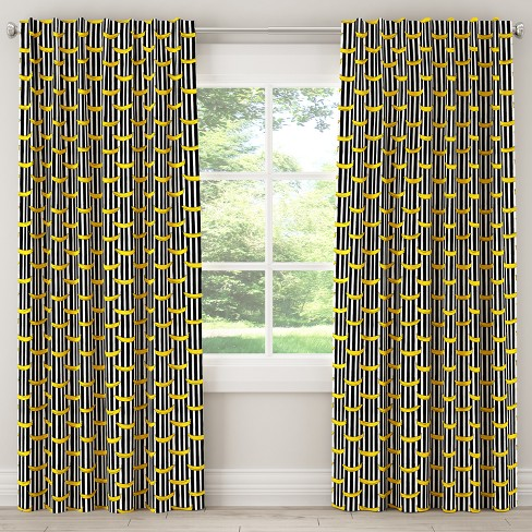 Unlined Curtain Banana Stripe Black - Cloth & Co. - image 1 of 5