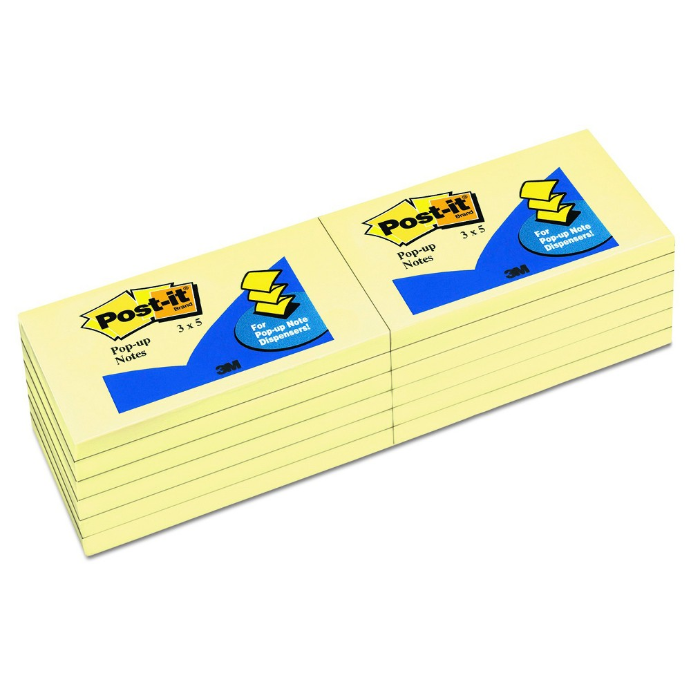 Post-it Post - it Pop - Up Note Refills 3 x 5 - Canary Yellow (12 Pads Per Pack)