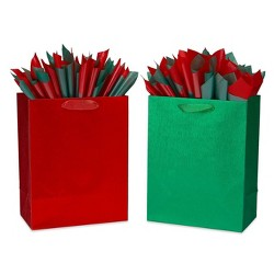 Large Papyrus Brushed Metallic Gift Bag and Tissue Paper Red and Green