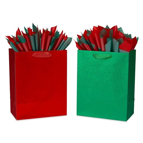Large Papyrus Brushed Metallic Gift Bag and Tissue Paper Red and Green - image 1 of 4