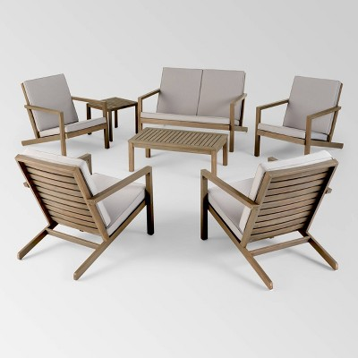 Leah 7pc Acacia Wood Extended Chat Set - Gray/Gray - Christopher Knight Home