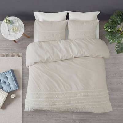 Roselle Full/Queen 3pc Cotton Seersucker Comforter Set Ivory