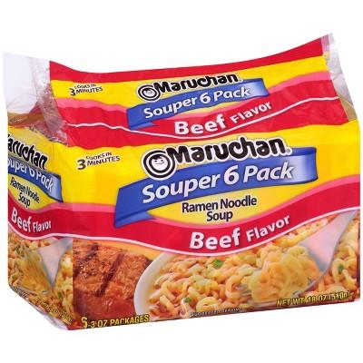 Maruchan Beef Ramen Noodle Soup 18oz, 6 ct