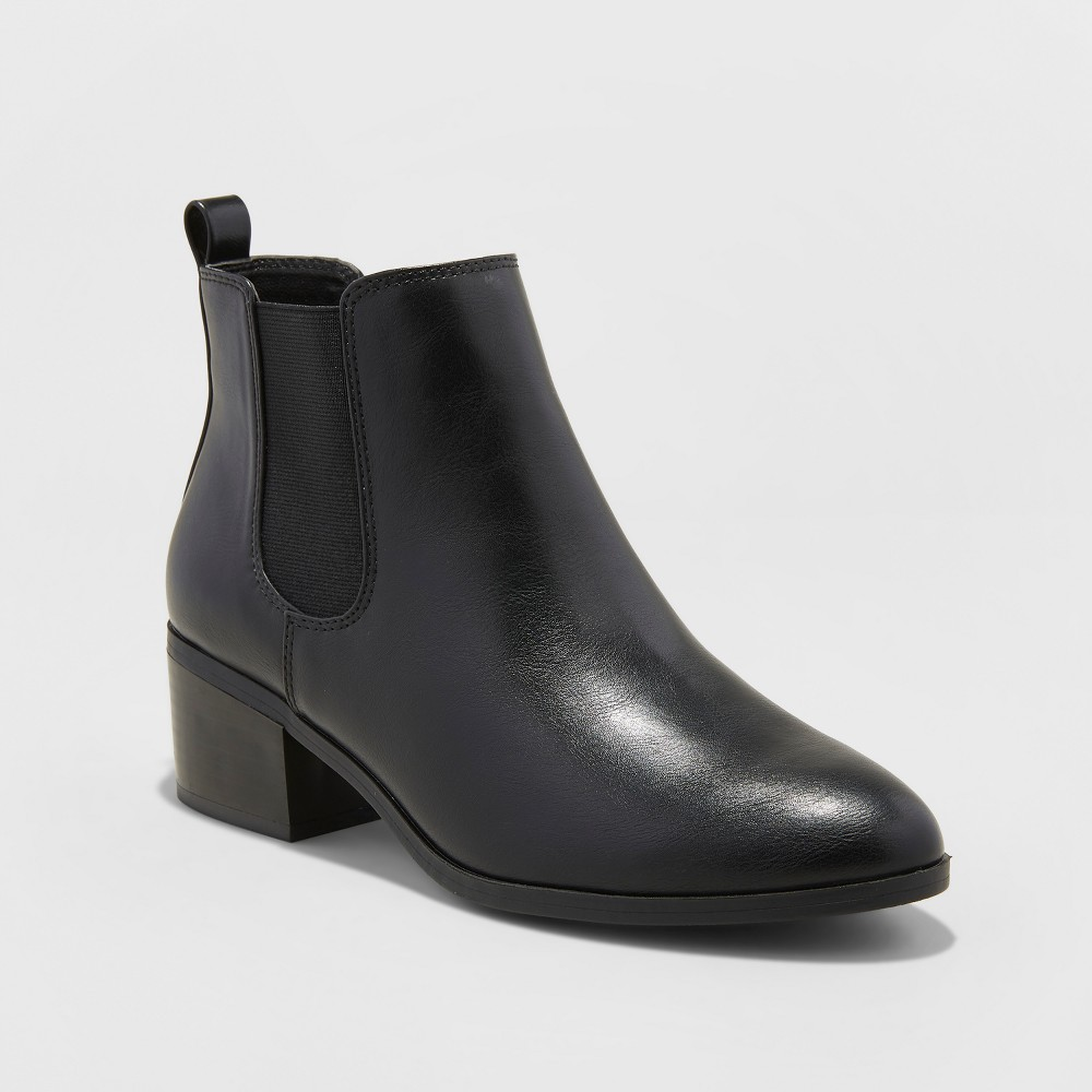 Women's Ellie Chelsea Boots - A New Day Black 5.5