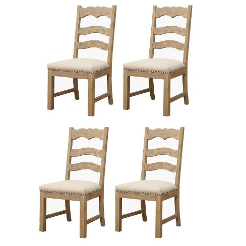 Emerald Home Barcelona Armless Ladder Back Modern Rustic Wood Dining Room Chair Set With Upholstered Seats Rustic Pine 4 Pack Target