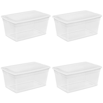 Sterilite 90-Quart Storage Box with Clear Base and White Lid (4 Pack) | 16668004