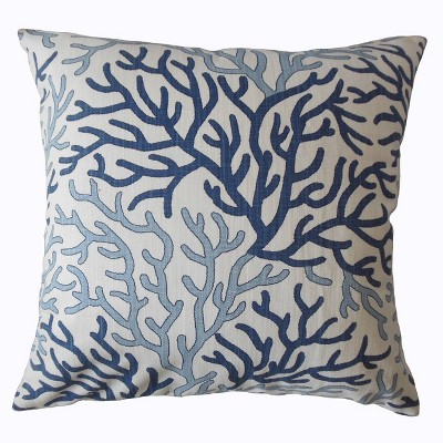 Coral Reef Pattern Square Throw Pillow White/Blue - Pillow Collection