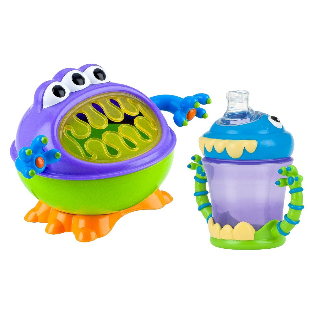 Image of Nuby 2pc Monster Baby Feeding Set - Snack Keeper and 2 Handle Super Spout Trainer Cup